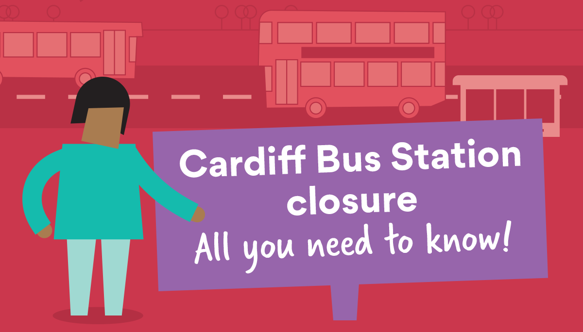 cardiff bus station closure banner